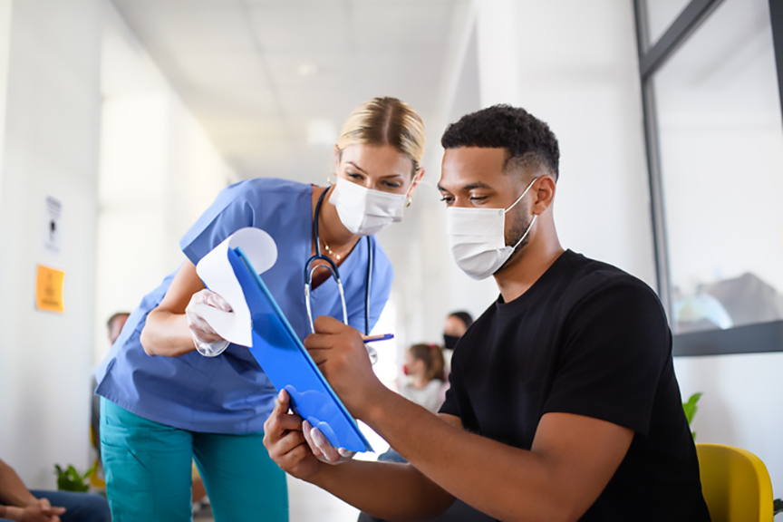 Nurse and Patient in Masks